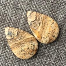 Яшма песчаная, пара кабошонов 22*15*5 мм , 22*15*4 мм
